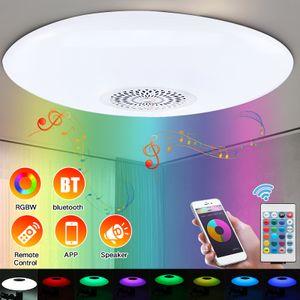 2020 Verbesserte LED-Musik-Deckenleuchte mit 30-W-E27-Schnittstelle für Bluetooth-Lautsprecher, moderne Leuchten mit RGB-Farbwechsel, Family Party Star Lights