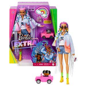 Barbie Extra Puppe mit geflochtenem Regenbogen-Zopf, inkl. Haustier