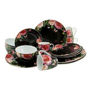 CreaTable 22419 Kombiservice Enjoy Roses für 4 Personen, Porzellan, mehrfarbig/schwarz (1 Set, 16-teilig)