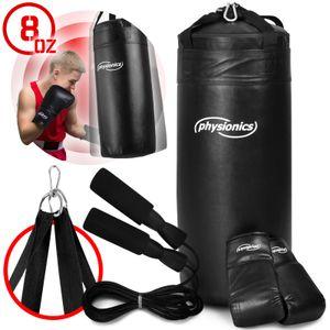 Physionics® Junior Boxsack-Kit - Ø30cm, H70cm, 13kg, Gefüllt, mit 8 oz Boxhandschuhen und Springseil, für Kinder, Karabinerhaken - Sandsack, Kickboxen, MMA, Kampfsport, Muay Thai, Punching Bag