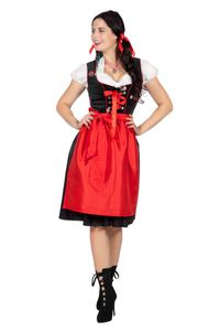 Wilbers & Wilbers Dirndl Tracht Trachtenkleid Trachten Dirndlkleid Oktoberfest Wiesn Wasen Set Schwarz/Rot/Weiß 48