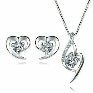Herz Schmuckset Silber 925 Damen Kette und Ohrringe Set mit Zirkonia Stein
