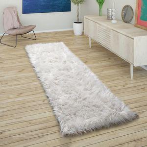 Kunstfell Fellteppich Imitat Sitzkissen Herfzorm Rund Verschiedene Formen, Weiß, Grösse:80x150 cm