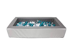 Schaumstoff Bällebadpool Drypool Ballpool inkl. 200 Bällebad Bällen mit 6cm Ø Türkis Mix,Pool: grau / weiß