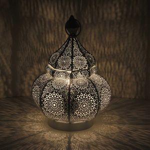 Casa Moro Orientalische Tischlampe Fahid Höhe 30 cm in shabby weiss gold mit E14 Fassung | Vintage Lampe |  LN2080