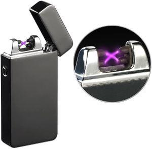 Elektrisches Feuerzeug mit doppeltem Lichtbogen Akku wieder aufladbar USB Grillen BBQ Elektro Sturmfeuerzeug