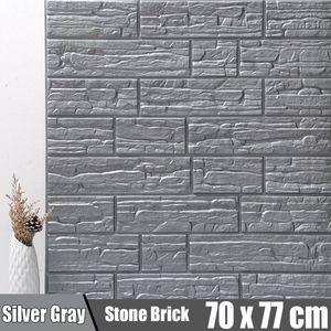 Meco 5PCS 3D Selbstklebend Tapete Wandpaneele Selbstklebend Ziegelstein ziegel Wasserdicht Grau 70x77cm