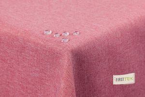 Tischdecke Leinenoptik Lotuseffekt abwaschbar gerade Saumkante 160 rund rosa