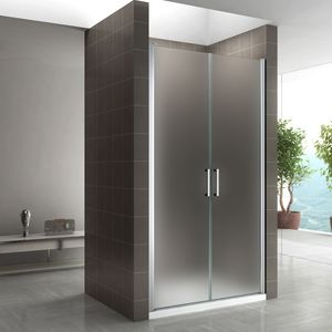 i-flair Duschtür 80-83 cm - Höhe: 185 cm, Duschabtrennung aus 6 mm satiniertem ESG Sicherheitsglas mit Edelstahlgriffen und Nanobeschichtung