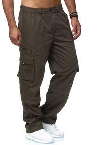 Herren Cargo Hose Freizeit 2-in-1 Zip Off Trennbar Gummibund 3/4 Shorts Schlupfhose, Farben:Grün, Größe Shorts:L