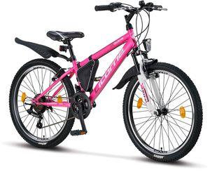 Licorne Bike Guide Premium Mountainbike in 20, 24 und 26 Zoll - Fahrrad für Mädchen, Jungen, Herren und Damen - Shimano 21 Gang-Schaltung, Kinderfahrrad, Kinder, Farbe:Rosa/Weiß, Zoll:24