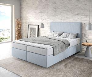 Bett Dream-Well Flachgewebe Pastellblau 140x200 cm mit Matratze und Topper