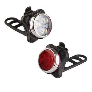 Fahrradlicht,Fahrradlicht USB Aufladbar, Fahrradbeleuchtung Set Wasserdicht 4 Licht-Modi Frontlicht und Rücklicht Set,Fahrradlichter mit USB-Kabel für Mountainbike