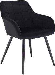 WOLTU Esszimmerstuhl 1 Stück Küchenstuhl Polsterstuhl Wohnzimmerstuhl Sessel mit Armlehne, Sitzfläche aus Samt, Metallbeine,  BH93sz-1 Schwarz