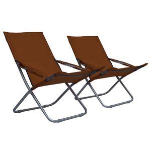 SIRUITON Klappbare Strandstühle Sonnenliege Gartenliege Relaxliege Schaukelliege Liegestuhl Schaukelstuhl 2 Stk. Stoff Braun