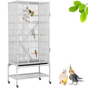 Yaheetech Vogelkäfig Vogelvoliere Nagerkäfig Vogelhaus mit Rollen 6 Sitzstangen, 8 Kunststoffnäpfe für Futter/Wasser Weiß