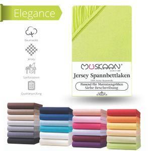 Müskaan - Jersey Spannbettlaken 180x200 cm - 200x220 cm + 40 cm Boxspringbett Laken, Farbe:apfelgrün