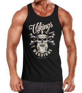 Herren Tank-Top Vikings Skull Wikinger Totenkopf Bart Muskelshirt Muscle Shirt Neverless® schwarz XXL
