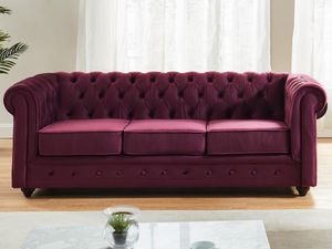 3-Sitzer-Sofa Chesterfield Samt ANNA - Pflaume