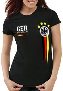 style3 Deutschland Damen T-Shirt Germany Fußball Europameisterschaft Trikot EM 2020, Farbe:Schwarz, Größe:M