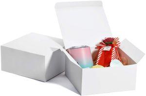 25 Geschenkboxen 20 x 20 x10 cm, weiß, mit Deckel