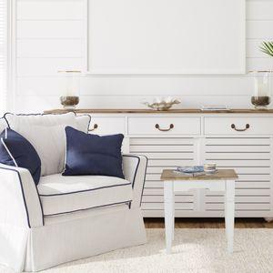 WOMO-DESIGN Beistelltisch Hong Kong 50 x 50 x 50 cm Quadratisch, Natur/Weiß, Massivholz Mangoholz, Landhaus-Stil, Vintage, Couchtisch Wohnzimmertisch Sofatisch Holztisch, für Wohnzimmer