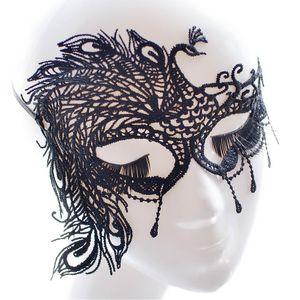 Venezianische Augenmaske Schwarz Pfau