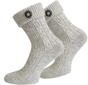 Trachten-Socken mit Knopf - Silbermelange - 39-42