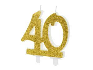 Geburtstagskerzen 40 Jahre 7.5cm, gold / glitzer