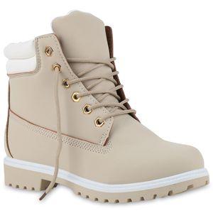 Mytrendshoe Damen Stiefeletten Outdoor Schuhe Worker Boots Gesteppt 814635, Farbe: Hellgrau, Größe: 38