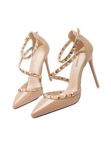 Damen y Knöchelriemen High Heels Niet Sandalen Spitzen Zehen Schuhe,Farbe: Nude,Größe:36