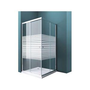 Duschwand Rav16MS mit Doppel-Schiebetür 100x80 cm Eckeinstieg Echtglas Lotuseffekt Duschkabine ESG-Sicherheitsglas Milchglas-Streifen