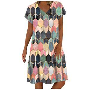 Mode Frauen Lässig Bunt Diamant Print V-Ausschnitt Kurzarm Kurzes Kleid Größe:M,Farbe:Rot