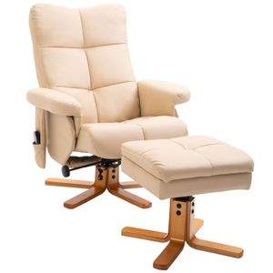 HOMCOM Massagesessel mit Fußhocker Relaxsessel Fernsehsessel  TV Sessel 145°-Neigung Kunstleder Cremeweiß 80 x 86 x 99 cm