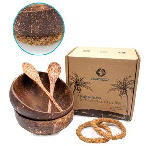 2er Set Kokosnuss Schalen + Holzlöffel + Halterung   Natürliche Schalen aus Kokosnuss   Coconut Bowls