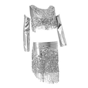 Damen Latein Dress glänzend Blingbling Pailletten Tank Top mit Röcke Splitter wie beschrieben