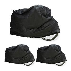 relaxdays 3 x Fahrradgarage schwarz, Schutzhülle, Abdeckung, robust wetterfest Staubschutz