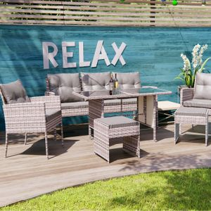 Poly Rattan Sitzgruppe Esstisch Lounge Gartenmöbel Sitzgarnitur Garten-Garnitur Set 1x Tisch + 2x Stühle + 1x Sitzbank + 2x Hocker - grau