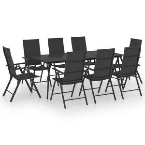 Gartenmöbel Essgruppe 8 Personen ,9-TLG. Terrassenmöbel Balkonset Sitzgruppe: Tisch mit 8 Stühle Schwarz❀7270