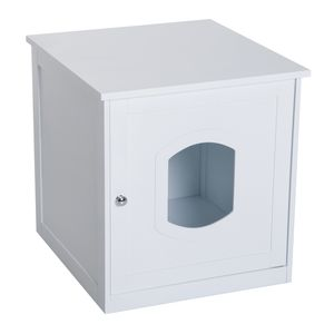 PawHut Katzenhaus für Katzenbett oder Katzentoilette, Katzenschrank, Katzenklo Indoor, MDF, Weiß, 48 x 51 x 51 cm