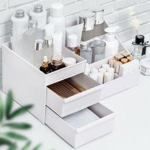 Weiß L Kunststoffbox Organizer Halter Kosmetikkoffer Make-up Pinsel Aufbewahrungsschublade