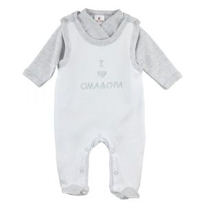 "Milarda Baby Set Strampler mit Body ""I love Oma & Opa"", weiß-grau, Gr. 50-62 Größe - 56"