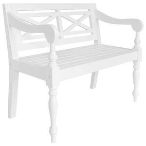 vidaXL Batavia-Sitzbank 98 cm Mahagoni Massivholz Weiß