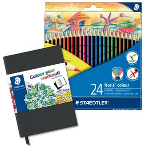 STAEDTLER Buntstift Noris Colour WOPEX 24er Kartonetui inkl. Notizbuch