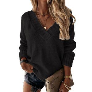 Damen einfarbig V-Ausschnitt Langarm Herbst/Winter Pullover Strickpullover,Farbe: Schwarz,Größe:M
