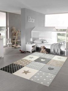 Kinderzimmer Teppich Spielteppich Herz Stern Punkte Design braun beige grau Größe - 120x170 cm