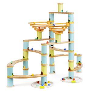 boppi Marmorbahn Umweltfreundliches 138-teiliges Holz-Bambus-Labyrinth für Kinder mit 24 Murmeln – Konstruktionsspielzeug für Jungen und Mädchen ab 3 Jahren – Jumbo-Pack
