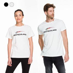 Fußball Fan Shirt Deutschland Fussball T-Shirt Unisex kurzarm Damen Herren S-XXL, Größe:S, Farbe:weiß, Style:Unisex