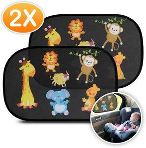 Sonnenschutz Auto Baby mit em UV Schutz (2er Set) - Selbsthaftende Sonnenblenden für Kinder mit süßen Tier Motive