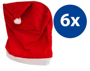 Stuhlhussen 6er Set Stuhlbezug Rot Weihnachten Nikolausmütze Weihnachtsdeko Weihnachtsmütze Stuhlüberzug Stuhldeko Husse Stuhl